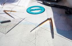 Route on a Maritime Chart Stock Images
