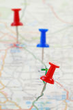 Route Marked on a Map. A route marked on a map with push pins. Map is copyright free Stock Images