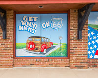 Route 66:. MCLEAN, TX/USA - MAY 8, 2013: Get Your Kicks on 66 mural on Route 66 Stock Photo