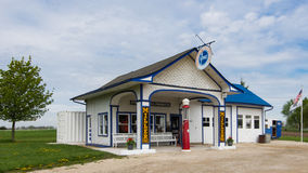 Route 66: Miller's Standard Oil, Odell, IL. ODELL, IL/USA - MAY 4, 2013: Restored Miller's Standard Oil gas station, on Route 66. National Register of Historic stock photo