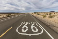 Route 66 Mojave Desert Pavement Sign. Historic Route 66 pavement sign near Amboy in the California Mojave desert Royalty Free Stock Image