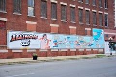 Route 66 mural commemorates the city`s role Bob Waldmire. PONTIAC, IL-USA - JULY 16: Route 66 mural commemorates the city`s role Bob Waldmire on July 16, 2017 stock image