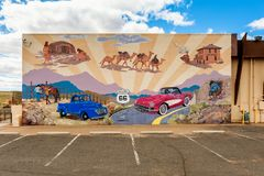 Route 66 Mural in Kingman Arizona USA. Route 66 Mural in Kingman, Arizona, USA. Route 66 was one of the most famous roads in the United States and ran from royalty free stock images