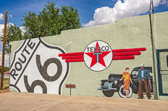 Route 66 Mural with Texaco Sign Stock Photos