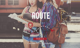 Route Navigate Location Planning Transportation Concept Royalty Free Stock Image