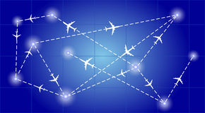 Route network aircraft Stock Photography