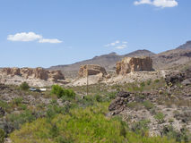 Route 66 Oatman Gold Mines. Photo from Highway Route 66 driving through the desert, forest in Oatman, a gold mine town Royalty Free Stock Photo