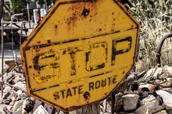 Route 66, old stop sign Royalty Free Stock Photos