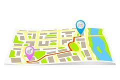 Route op de kaart van de stad. Stock Foto's