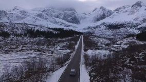 Route op de Lofoten-Eilanden stock footage