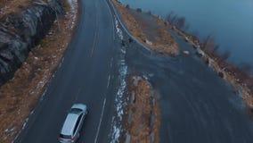 Route op de Lofoten-Eilanden stock videobeelden