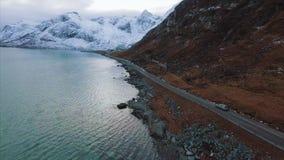 Route op de Lofoten-Eilanden stock video