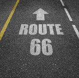 Route 66 painted on asphalt stock illustration