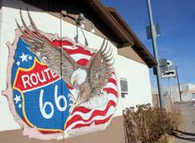 Route 66 Wall art Seligman, Arizona. Route 66 painting on the side of a building on the main street of Seligman, Arizona on US Route 66 historic highway Royalty Free Stock Photography