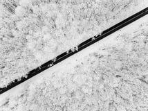 Route par la forêt neigeuse photos libres de droits