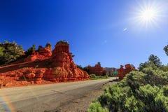Route par le canyon rouge en Utah, Etats-Unis Photo libre de droits