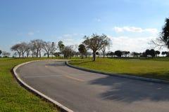 Route par un champ et des arbres Photos stock