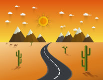 Route par un désert et des montagnes illustration stock