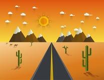 Route par un désert et des montagnes illustration de vecteur