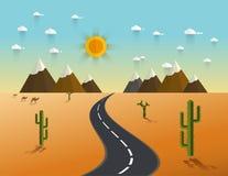 Route par un désert et des montagnes illustration libre de droits