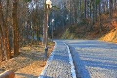 Route pavée en cailloutis dans la campagne Image libre de droits