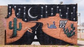 Route 66 : Peinture murale de la racine 66, Sayre, OK images libres de droits