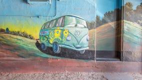 Route 66: Pintura mural de Fillmore, motel azul da andorinha, Tucumcari, nanômetro imagens de stock
