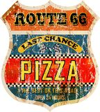 Route 66 pizza sign Stock Images