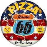 Route 66 pizza sign stock illustration