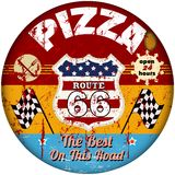 Route 66 pizzeria sign Stock Photo