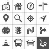 Route planning and transportation icons Royalty Free Stock Images