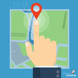 Route planning vector concept. Flat design vector illustration template of finger pointing way point on the road map. Route planning vector concept Royalty Free Stock Photos