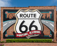 Route 66 : Pontiac, peinture murale de l'Illinois Photographie stock libre de droits