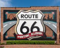 Route 66: Pontiac, pintura mural de Illinois Fotografia de Stock Royalty Free