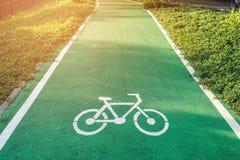 Route pour la bicyclette sur les feuilles vertes Images stock