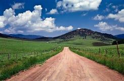 Route poussiéreuse par le cordon de pâturage accidenté vert Image libre de droits
