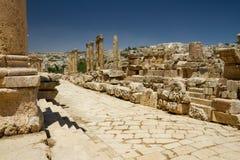 Route principale, Jerash, Jordanie Images libres de droits