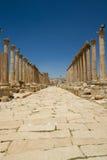 Route principale, Jerash, Jordanie Image stock