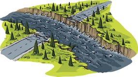 Route ravagée par inondation illustration libre de droits