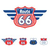 Route 66 red and blue vector icon. vector illustration