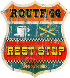 Route 66 rest stop sign Royalty Free Stock Images