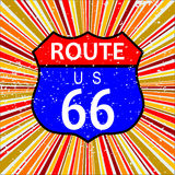 Route 66 Retro Background. Abstract route 66 sign and retro grunge backround design element in reds and oranges royalty free illustration