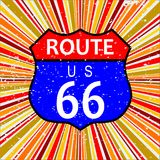 Route 66 Retro Jazz Background. Abstract route 66 sign and retro grunge backround design element in reds and oranges Royalty Free Stock Photos