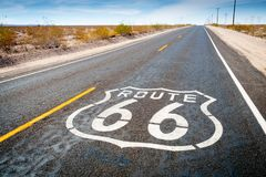 Route 66 road sign in Daggett Stock Photography