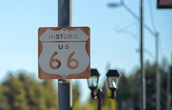 Route 66 Road Sign on the historic highway Royalty Free Stock Images