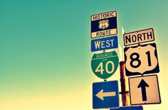Route 66 road signs on Oklahoma. Route 66 road signs on Oklahoma, US Stock Photography