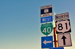 Route 66 road signs on Oklahoma. Stock Photo