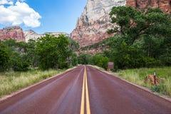 Route rouge typique en Zion National Park, Utah, Etats-Unis Photographie stock