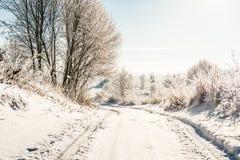 Route rurale en hiver photo libre de droits