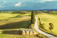 Route rustique blanche naturelle en Toscane, Italie Images libres de droits